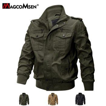 Mens Winter Army Jacket Military Cargo Zipper Jacket
