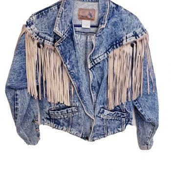 Vtg 80s Acid Wash Prezzia Cowgirl Leather Fringe Denim Tiger King Jacket Medium