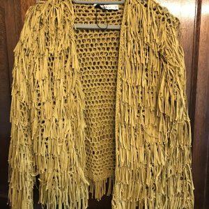 ZARA Knit Fringe Jacket in Mustard Size Small New