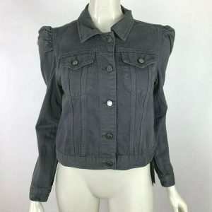Blank NYC Denim Jacket Long Sleeve Pockets Button Up Gray Jean Women S NWT $128