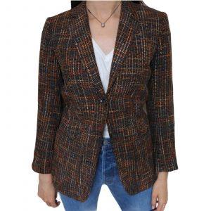 PAUL COSTELLOE DRESSAGE Blazer Jacket Size 8 Tweed Brown Orange