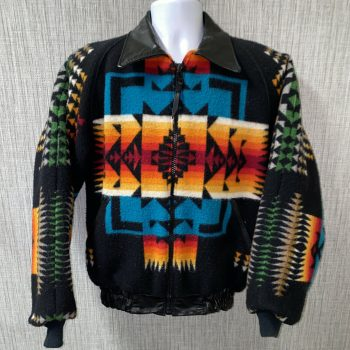 Vtg Ghost Dancer Mens Multi Color Aztec Print Full Zip Jacket 22 In Armpit