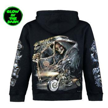 Grim Reaper Ghost Biker Scythe Glow In Dark Zip Hoodie Jacket Both Side Print