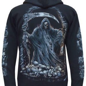 New Grim Reaper Ghost Biker Glow In Dark Skull Axe Hoodie Hoody Jacket M - 3XL
