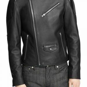 Mens Designer Black Leather Jacket Real Lambskin Motorcycle Racing Jacket NF68
