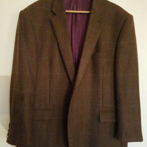 "100% Wool Mens Designer Jacket Paul Costelloe Check Two Button Style 50"" Regular"
