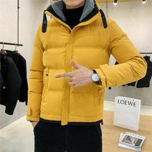 Men Cotton Winter Jackets Casual Short Coat For Man Lamb Collar Jacket