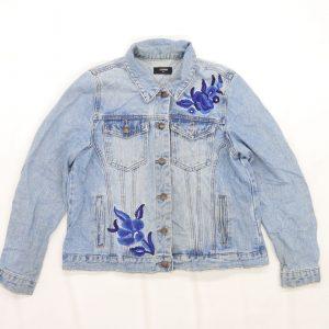 Matalan Womens Blue Floral Denim Jacket Size 14