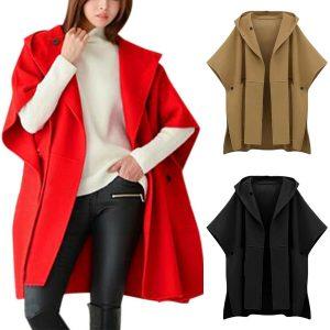 Womens Woolen Cape Poncho Trench Coats Cloak Open Front Cardigan Jacket Outwear