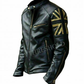 Mens Biker Vintage Motorcycle Black Cafe Racer UK Flag Union Jack Leather Jacket