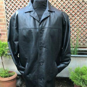 Original Ben Sherman heavy black leather button jacket size large