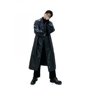 Men Faux Leather Motorcycle Windbreaker Trench Coat Long Jacket Overknee Biker L