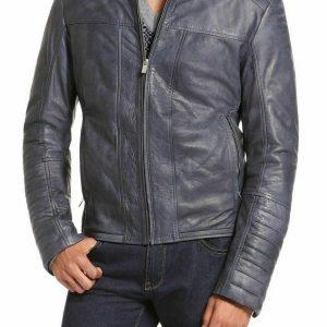 Mens Designer Blue Leather Jacket Real Lambskin Motorcycle Biker Jacket NF40