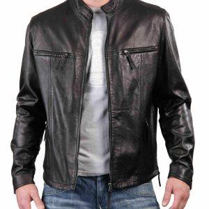 Jacket Leather S Men Biker Vintage Harley Real Motorcycle Coat Black Genuine 017