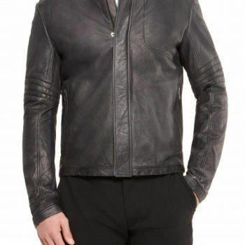 Mens Designer Black Leather Jacket Real Lambskin Motorcycle Racing Jacket NF54