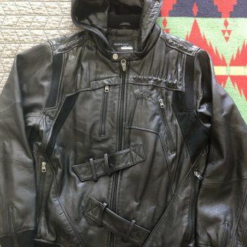 Men's Vintage ROCAWEAR Black Leather With Removable Hood Jacket Size XL