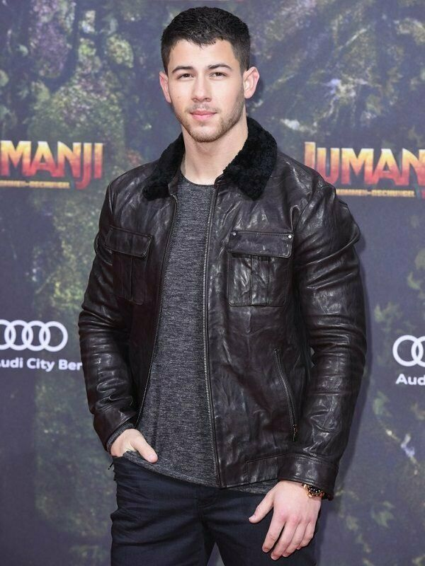 Nick Jonas Jumanji The Next Level Biker Black Leather Jacket