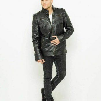 Black Slim Fit Real Leather Jacket Genuine Lambskin Real Bomber Leather Jacket