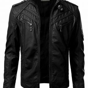 Rocker Cafe Racer leather Jacket for man Leather jacket