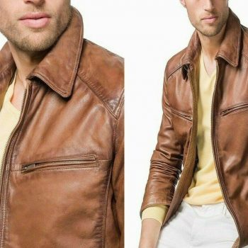 Classic Style Bomber Brown Distressed Lambskin Real Men's Pure Leather Jacket