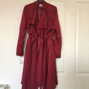 ASOS Burgandy Waterfall Front Trench Coat Size 8