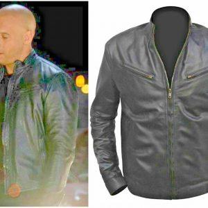Leather Jacket for men Fast And Furious VIN Diesel Black Cafe racer