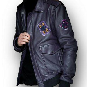 Mens Batman Henchmen Joker Goon Purple Bomber Jacket