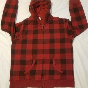 Men's Utility L Large Red Plaid Zip Up Hooded Jacket