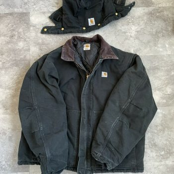 Vtg Carhartt Quilted Coat Black Detachable Hooded Mens Jacket XL