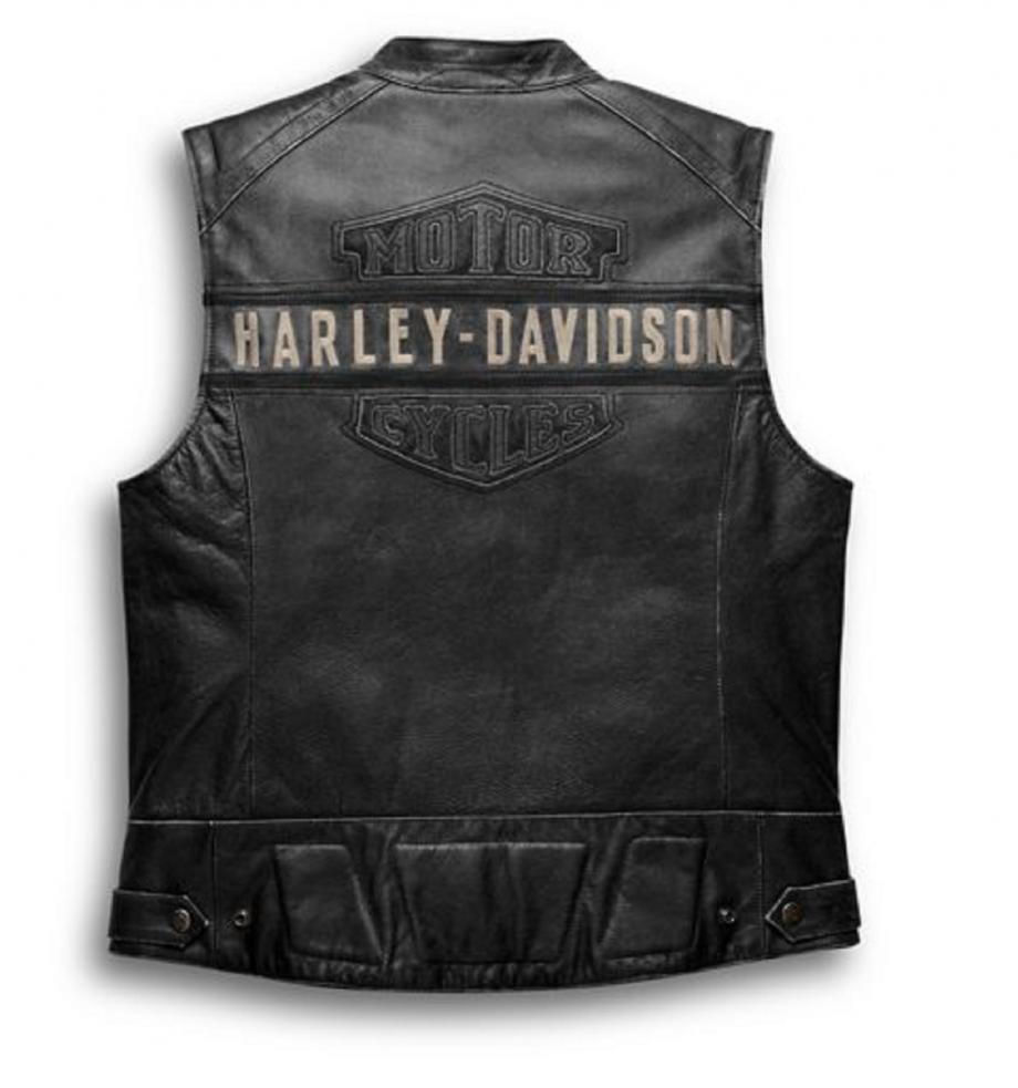 MEN HARLEY DAVIDSON PASSING LINK VEST BLACK REAL LEATHER BIKER CAFE RACER JACKET