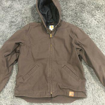 Carhartt Mens Hooded Jacket Size M Dark Brown Chocolate Good Condition