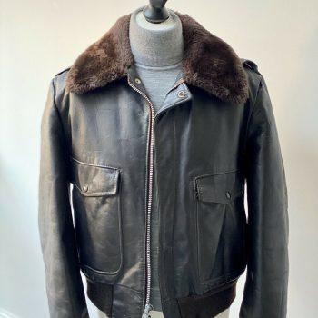 Mens Aviator Flight jacket Leather Fur Shearling Lined Jacket Brown 42 M L Vtg