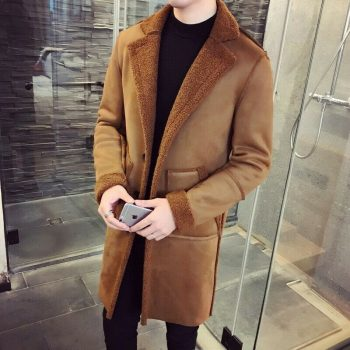 Men's Warm Sueded Shearling Jacket Trench Coat Cashmere Sherpa Overcoat Thicken
