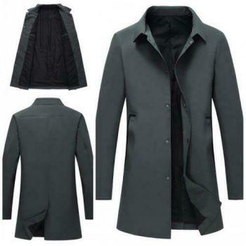 Men's Single Breasted Windbreaker Trench Coat Long sleeve Business Outwear New L