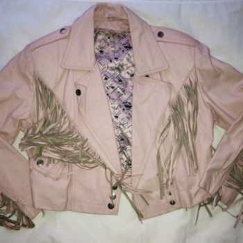 Vintage 80's Bermans Rare Pink Cropped Fringe Leather Jacket w/Thinsulate