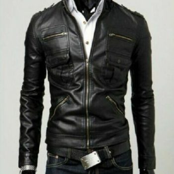 Lambskin Leather Black Slim Fit Bomber Style Rocky Mountain Pure Leather Jacket