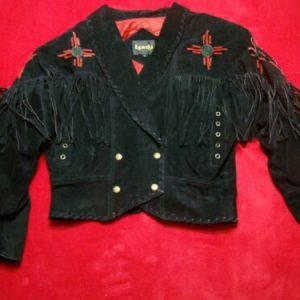 80s Learsi Womens Medium Fringe Deep V Bolero Boho Cowgirl Suede Leather Jacket