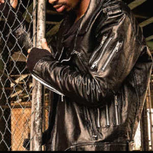 Black owned outerwear Men's Black Leather Motto Jacket