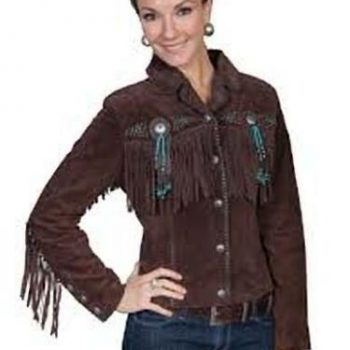 Women Brown Suede Western Style Leather Jacket With Fringe