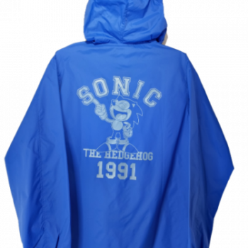 Sonic the Hedgehog Classic Hooded Windbreaker Blue and White