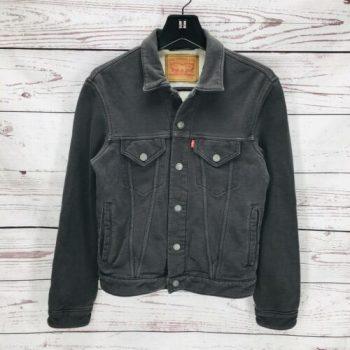 Levis Men's French Terry Trucker Jacket Cotton Blend Dark Grey
