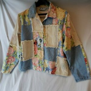Keren Hart Patchwork Boho Style Jacket Women's S Floral Fringe Button Front