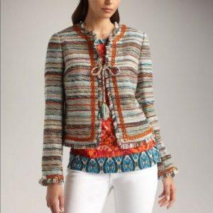 TORY BURCH Abigail Multi-Color Boucle Tweed Fringe Chenille Jacket Size 12