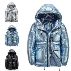 Mens Winter Outwear Shiny Hooded Duck Down Puffer Jackets Thicken Warm Loose L
