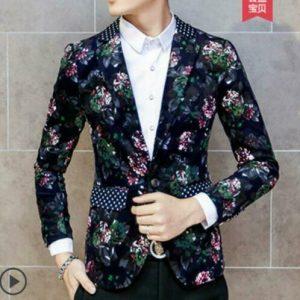 New Mens Casual Slim Fit One Button Suit Blazer Business Coat Jacket Floral Size
