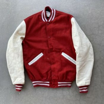 Vintage 90s DeLong Mens XL Varsity Letterman Jacket Red Leather Sleeves 40