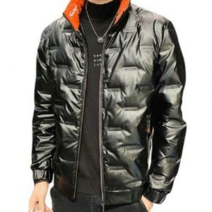 Mens Glitter Cotton Padded Puffer Jackets Windproof Warm Outwear Stand Collar D