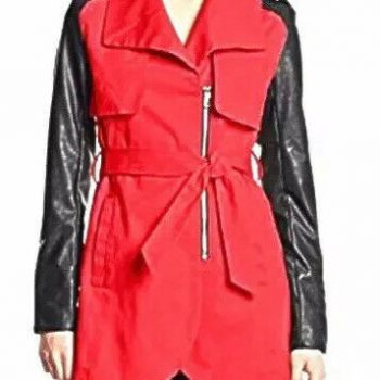 French Connection Sunrise Trench Coat Black Sleeves Size Medium New With Tags