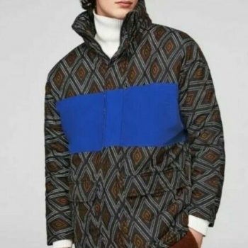 Zara Man Soft Print Winter Coat Jacket Men's M Black/Blue