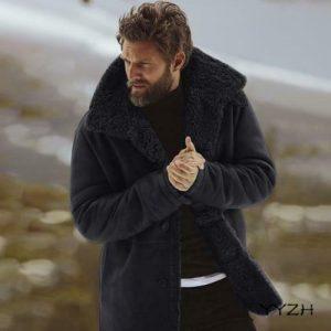 Men's Winter Warm Thick Cotton Overcoats Faux Fur Lined Jacket Button Snow Coats